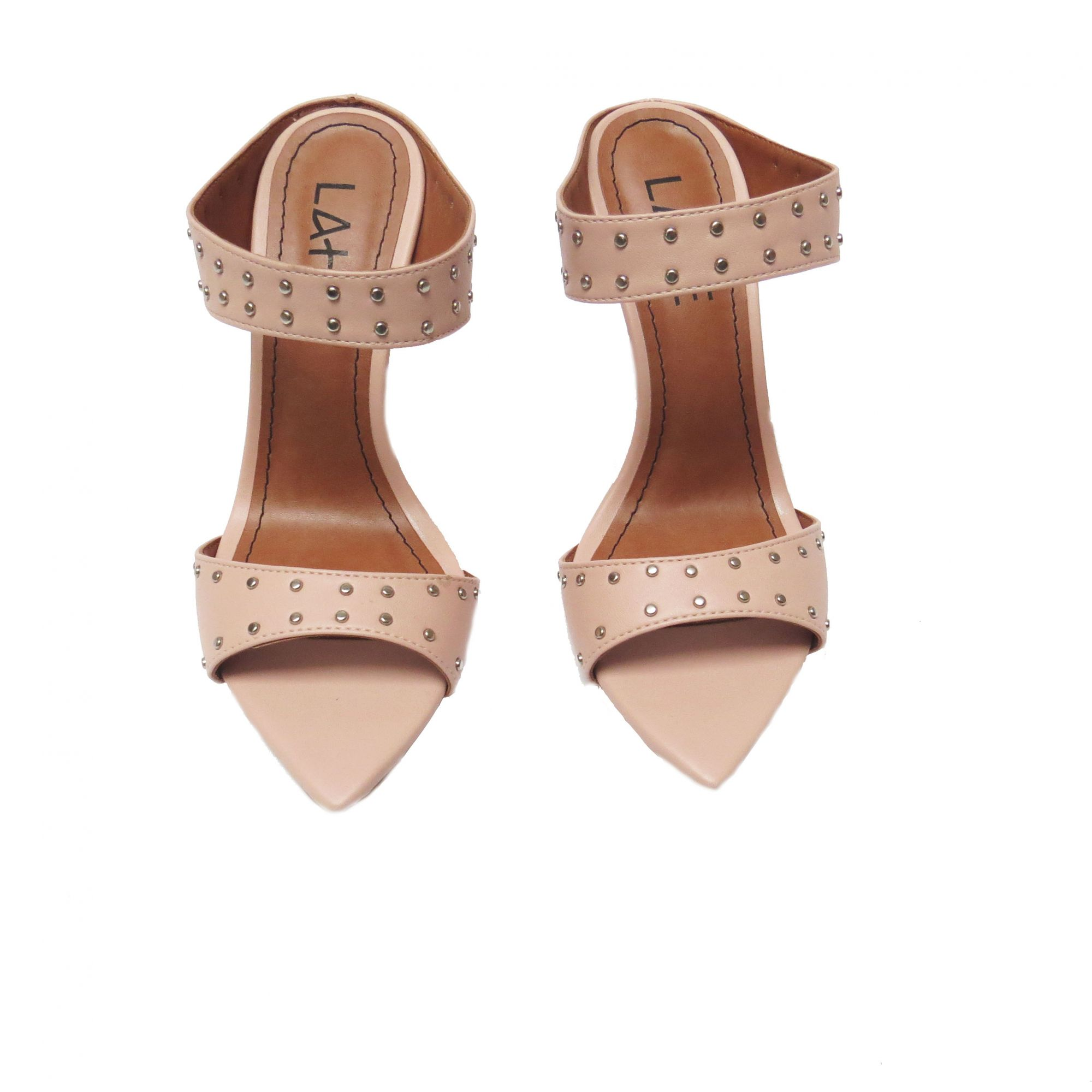 Tamanco Juliana  com spikes - Quartzo