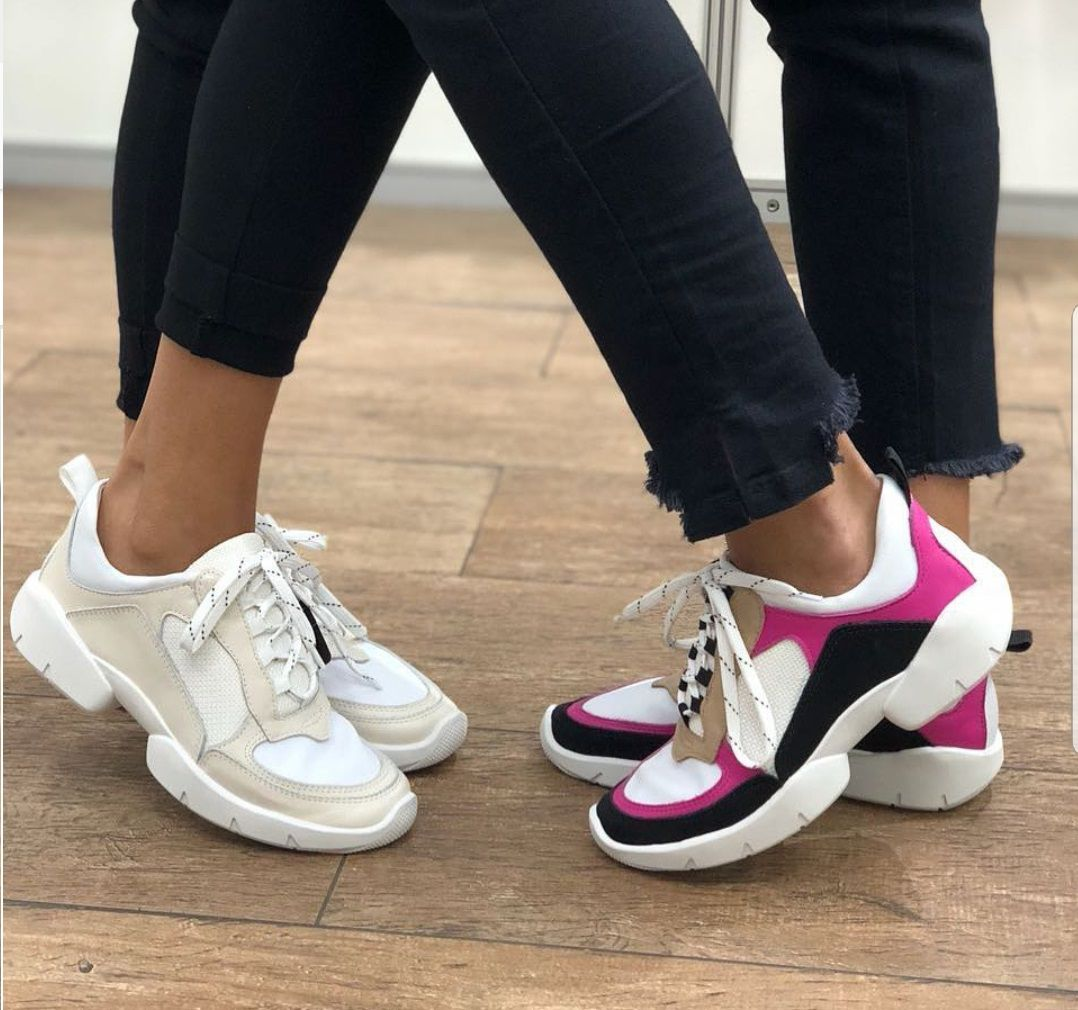 Tenis dad shoes Paris - Branco e pink