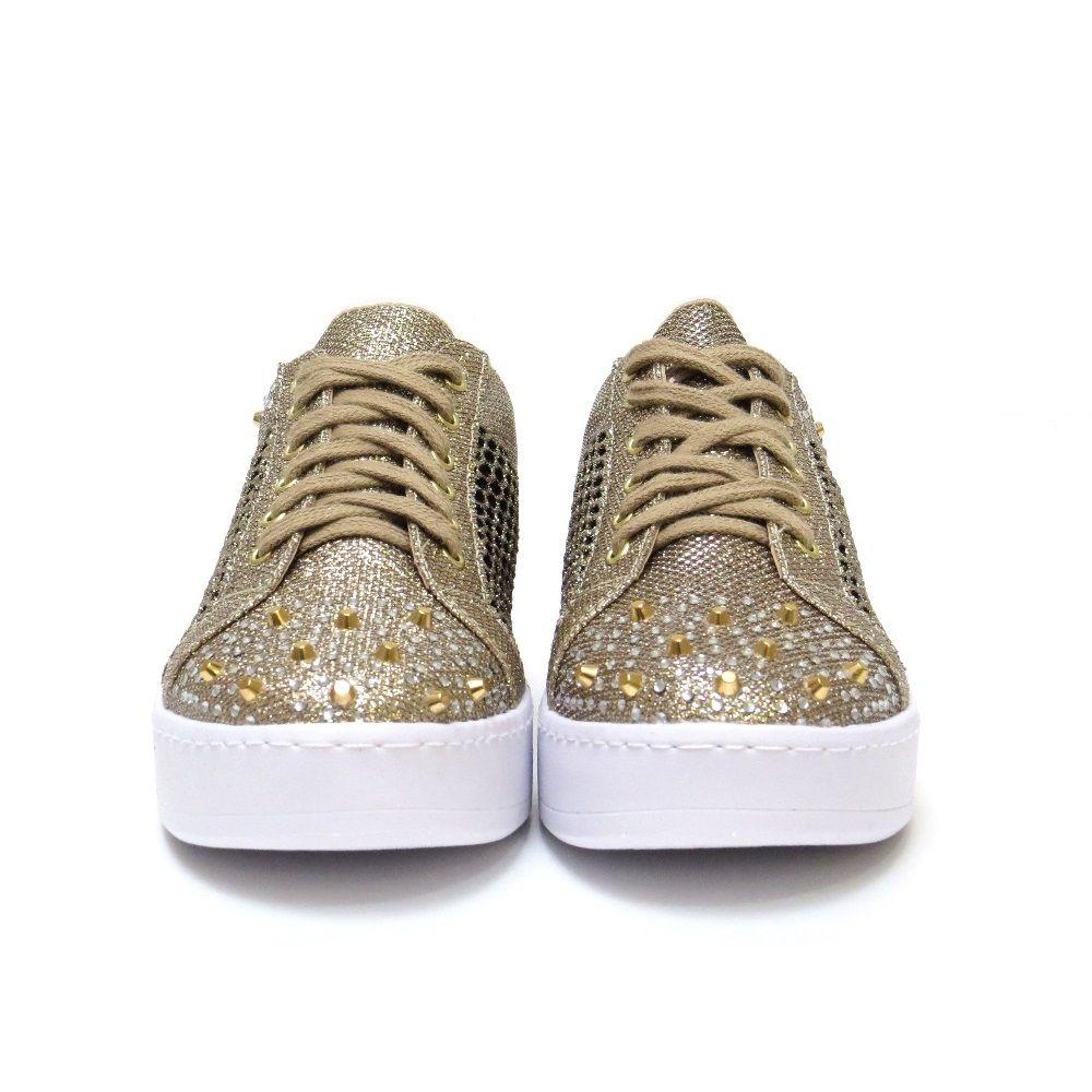 Tenis Vazado com brilhos - Dourado
