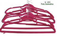Cabide Aveludado Rosa Extra Fino - WestPress  -  Kit  10 pcs