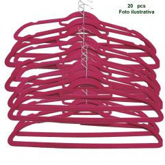 Cabide Aveludado Rosa Extra Fino - WestPress  -  Kit  20 pcs