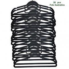 Cabide Aveludado Preto Extra Fino - WestPress  -  Kit  20 pcs