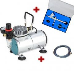 MINI COMPRESSOR COM KIT AERÓGRAFO