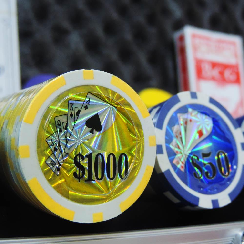 Maleta de Poker com 500 Fichas Numeradas com Ficha Small Bling Big Blind e Dealer - WestPress