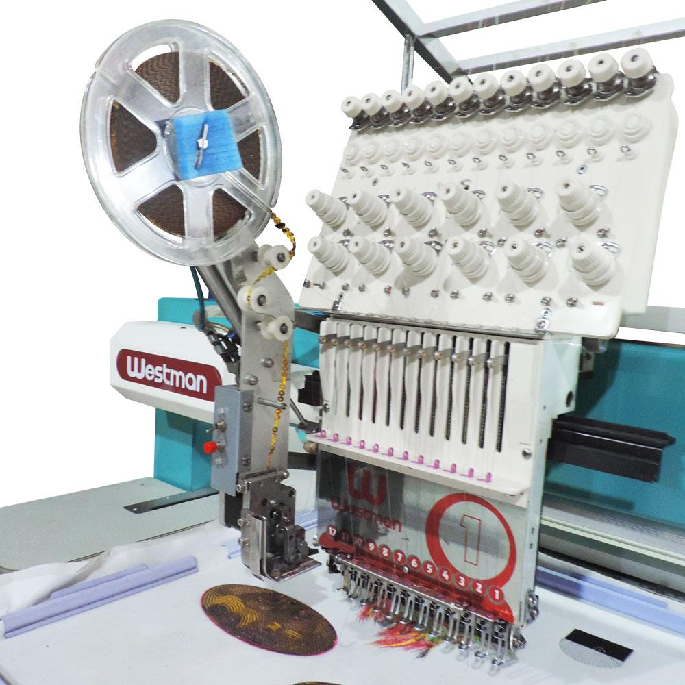 Máquina de Bordar 1 Cabeça 12 agulhas Com Aplicador de Lantejoula W-1201-45PS - Westman