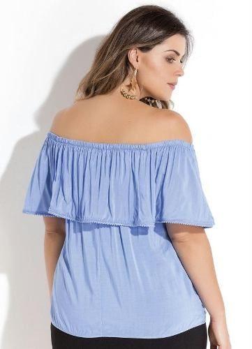 b10dca0c7 Blusa Ciganinha Ombro A Ombro Azul Plus Size - Mifil Roupas Femininas