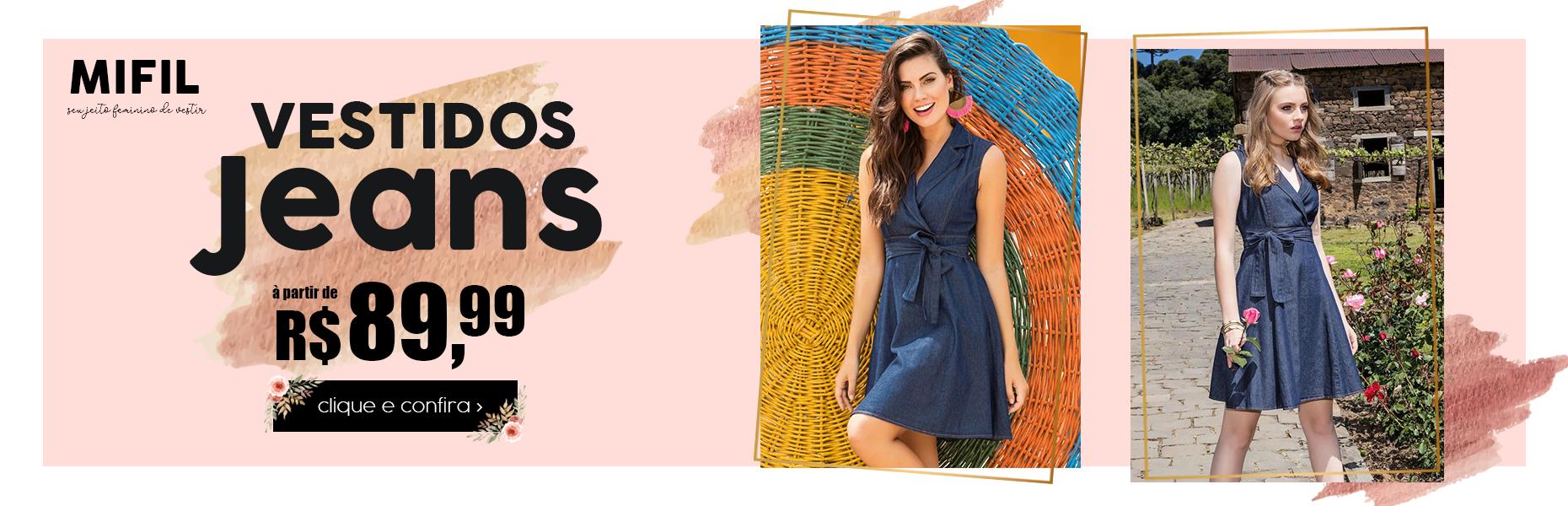 Oferta Vestidos Jeans a partir R$ 89,99