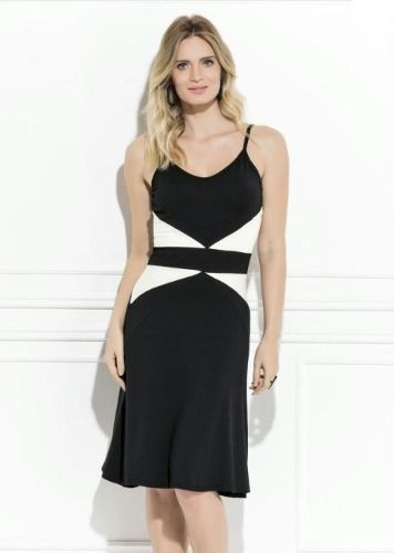 Vestido Midi Social Preto e Branco