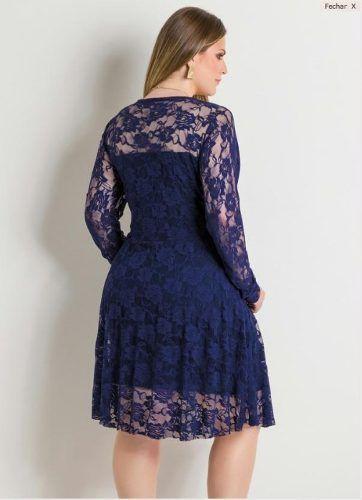 Vestido azul marinho de manga comprida