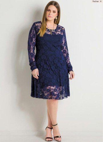 Vestido de renda manga longa azul marinho