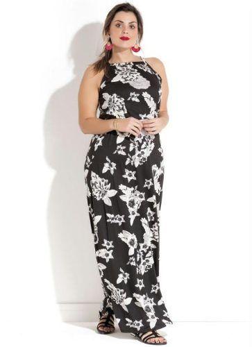Vestido Florido Preto e Branco Plus Size
