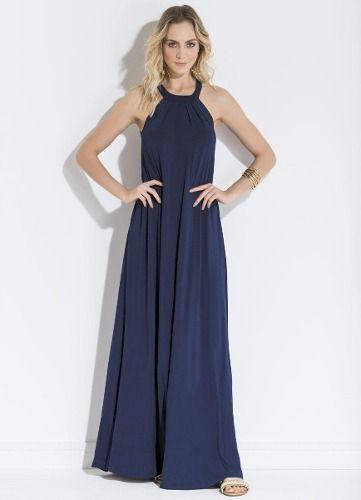 6f4fb4ce6 Vestido Azul Marinho Decote Trapézio - Mifil Roupas Femininas
