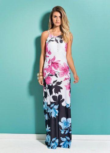 Vestido  Floral Decote nas Costas
