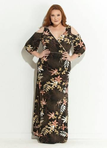 d7e3bc09ea produto vestido cetim floral plus size - Longo - Marca  Quintess ...