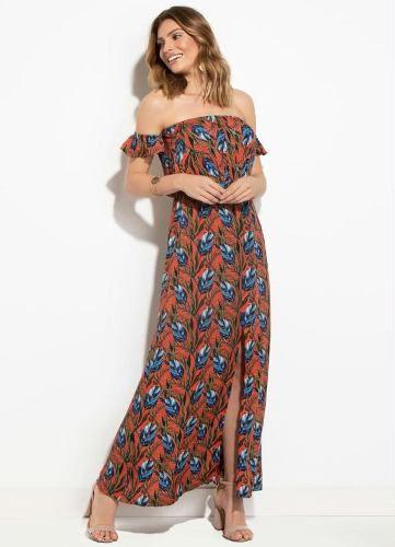 Vestido Ciganinha Folhagem Terracota
