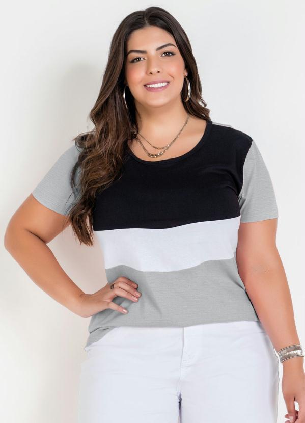 Blusa Básica Tricolor Plus Size