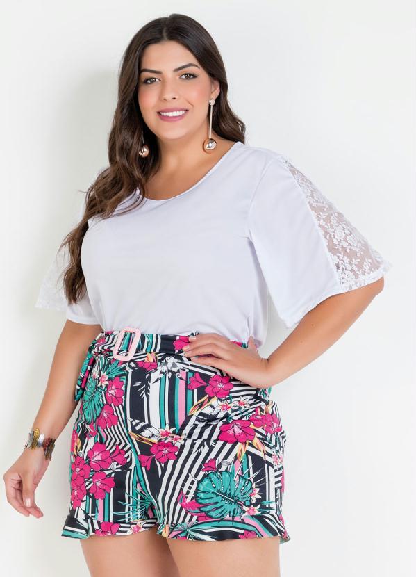 Blusa Com Renda E Mangas Amplas Plus Size Branca