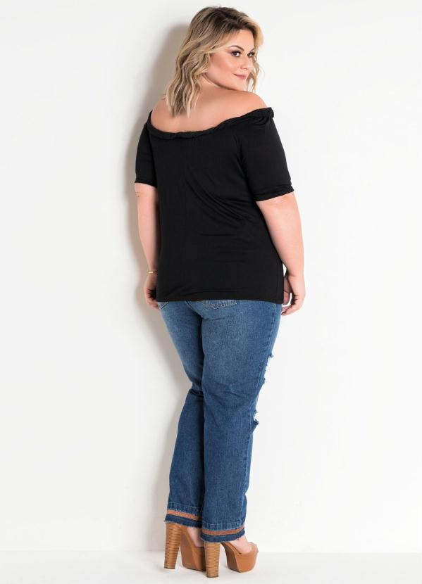 Blusa Plus Size Ciganinha Preta