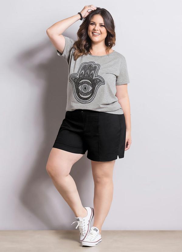 Blusa T-Shirt Cinza Plus Size