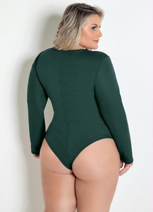 Body Transpassado Plus Size Verde