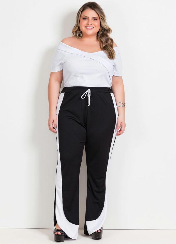 Calça Flare Plus Size Preta e Branca