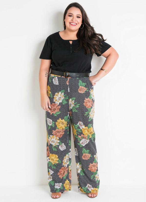 Calça Pantalona Floral e Poá Plus Size