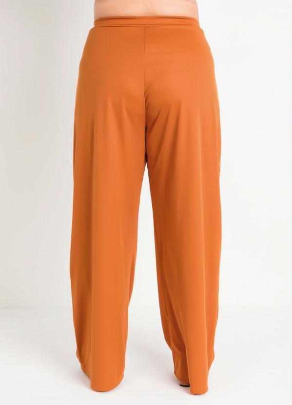 Calça Pantalona Plus Size Caramelo