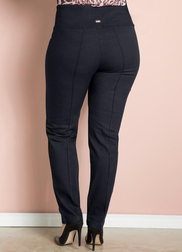 Calça Skinny Preta Sarja Plus Size