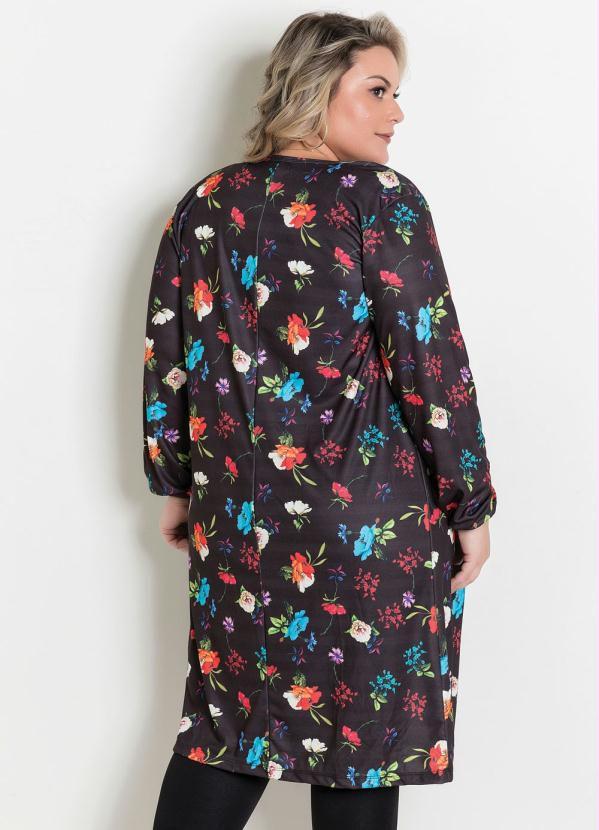 Cardigan Aberto Floral Plus Size