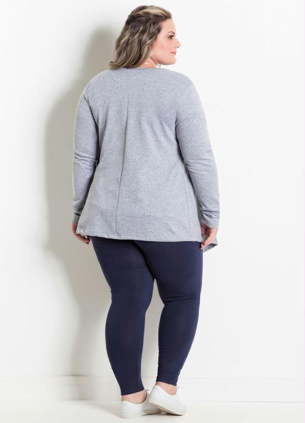 Cardigan Plus Size Cinza