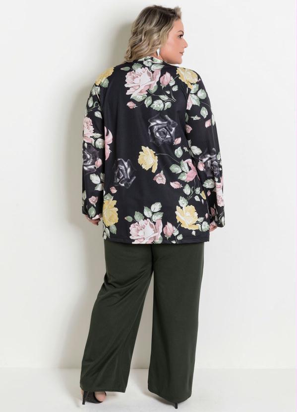 Casaco Aberto Floral Plus Size