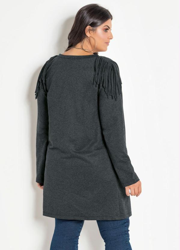 Casaco Alongado Com Franja Plus Size Cinza