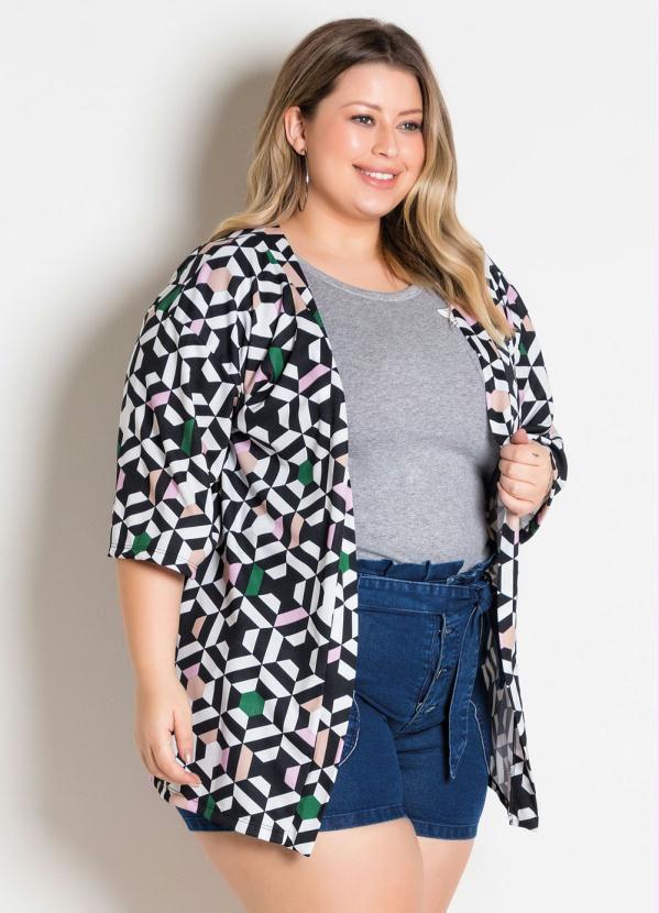 Kimono Geométrico Plus Size