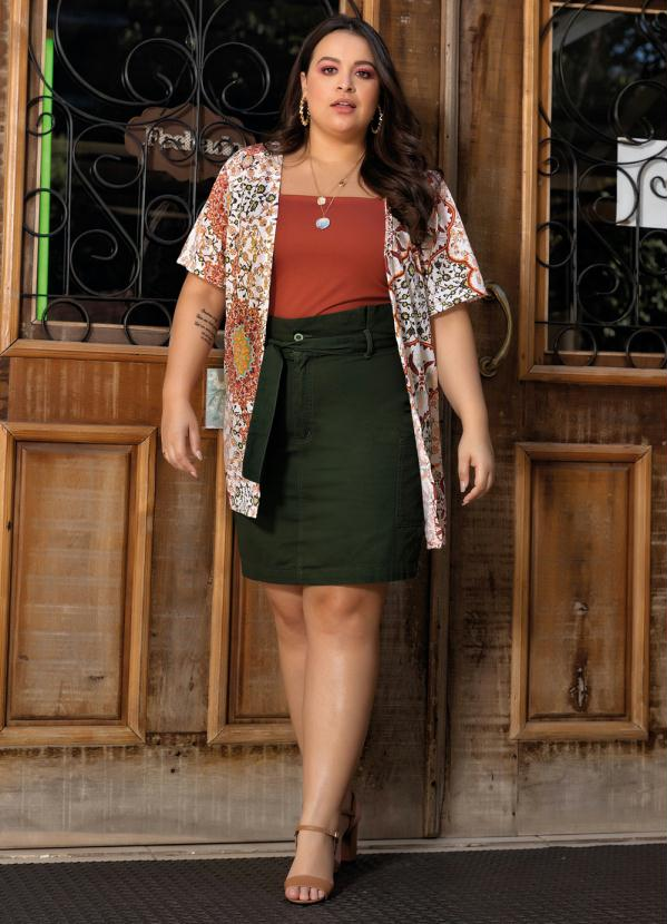 Kimono Plus Size Arabescos Bege