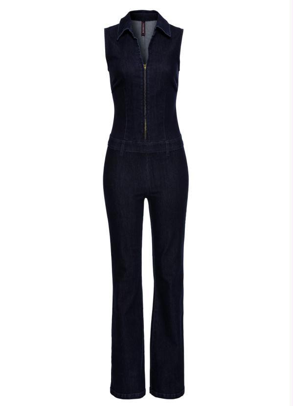 Macacão Jeans Escuro Bootcut Regata