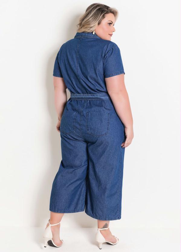 Macacão Jeans Pantacourt Plus Size