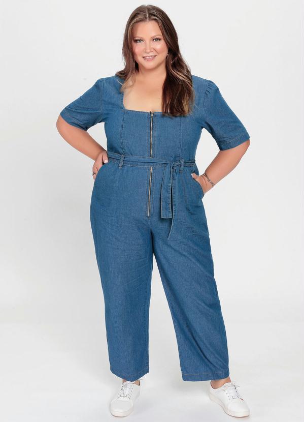 Macacão Jeans Ziper Plus Size