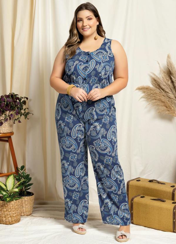 Macacão Plus Size Regata Mandalas Azul