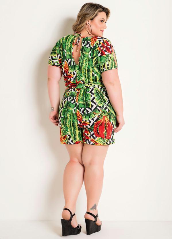 Macaquinho Tropical Com Amarração Plus Size