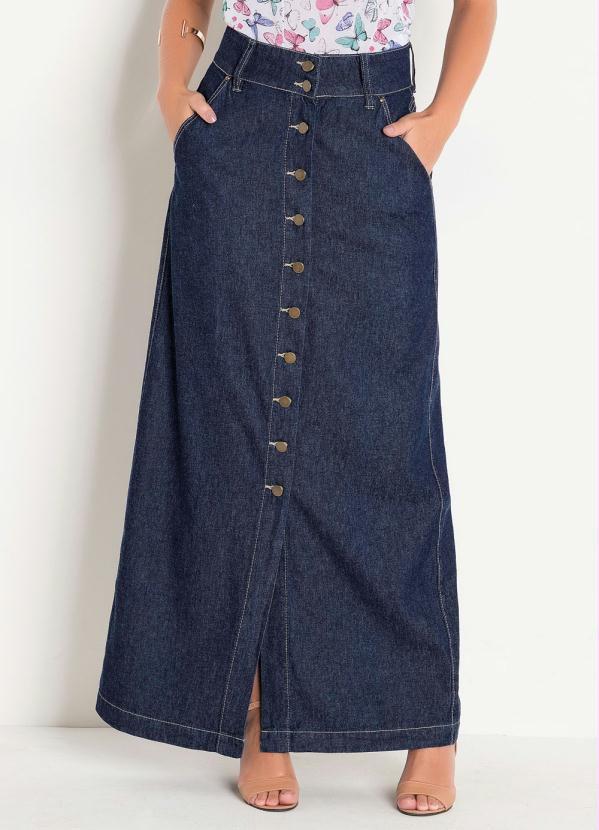 Saia Jeans Longa Botões frontais