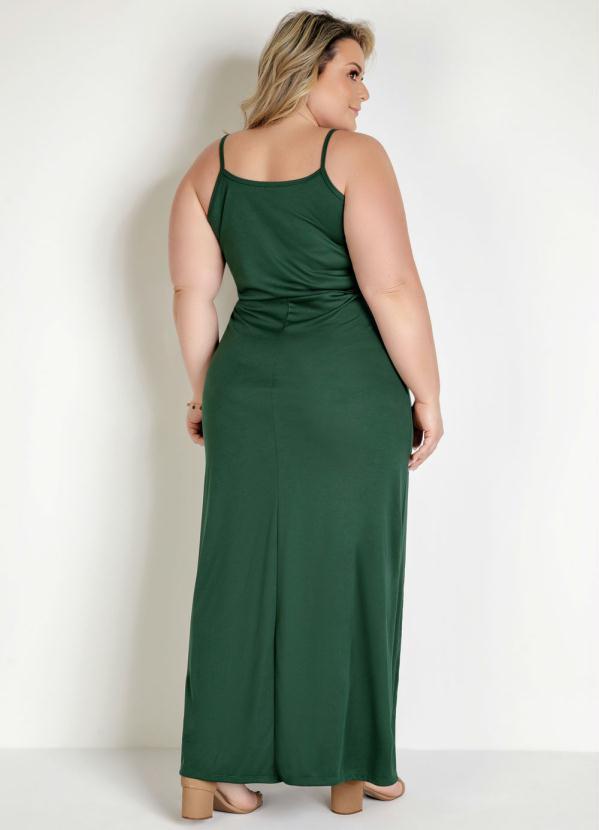 Vestido Alças e Fenda Plus Size Verde