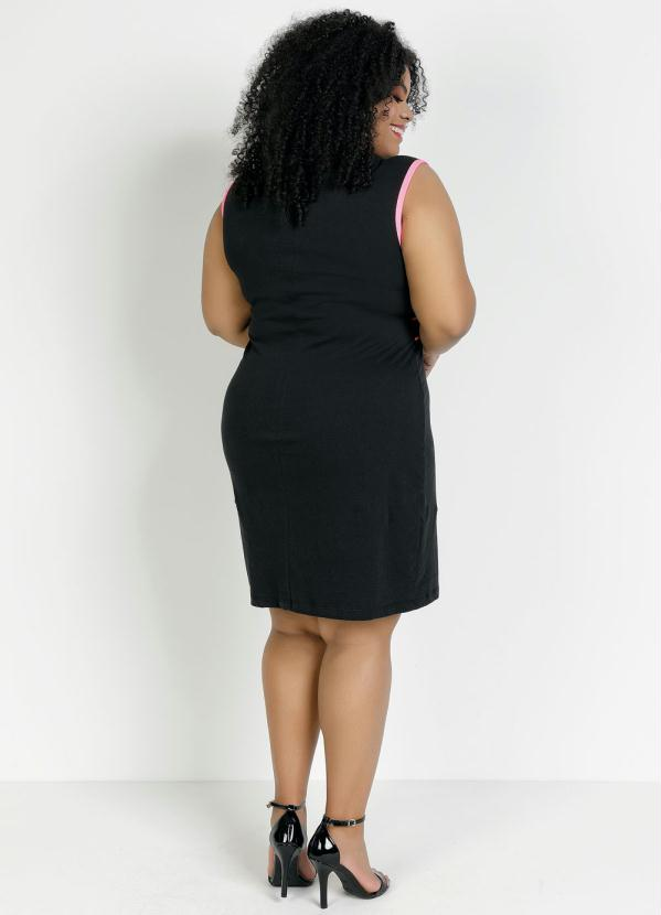Vestido Básico Plus Size Regata Preto
