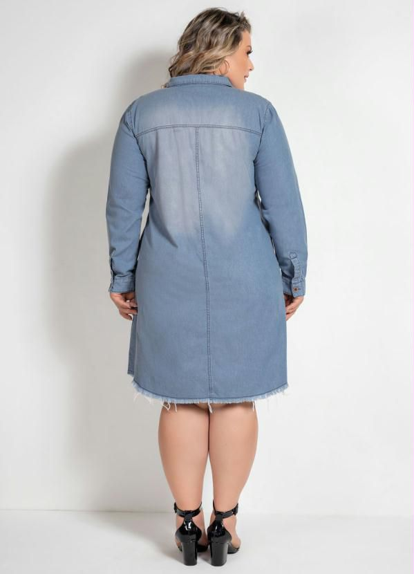 Vestido Chemise Jeans Plus Size