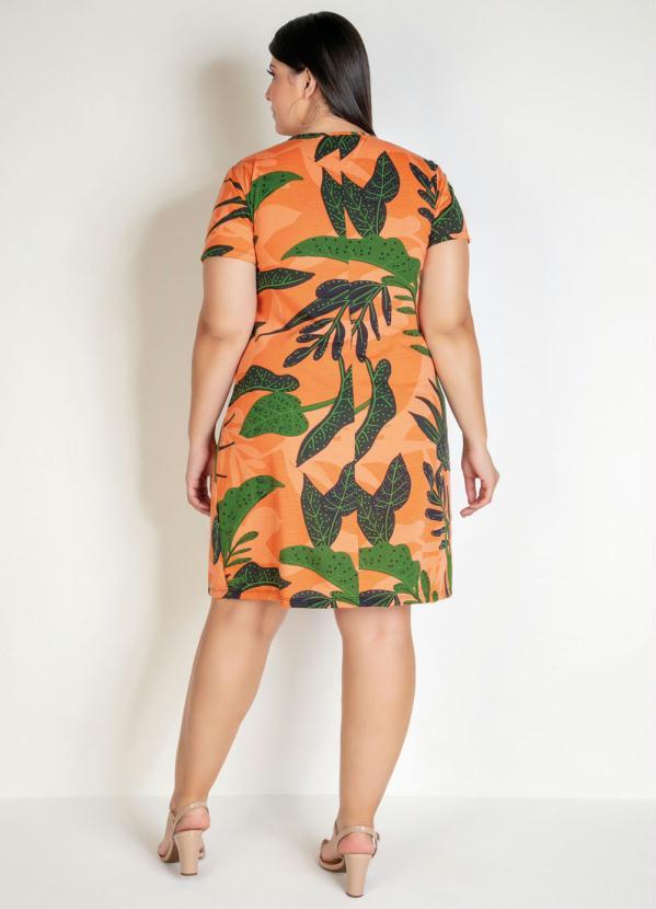 Vestido Curto Folhagem Com Amarração Plus Size