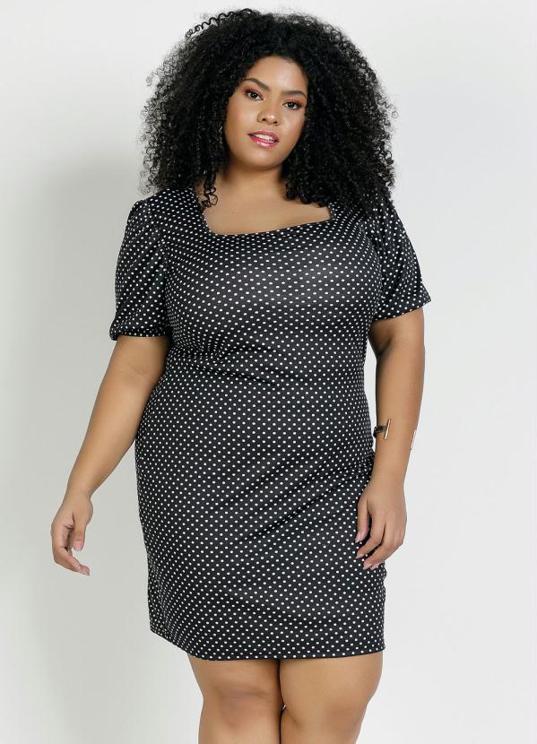 Vestido Curto Manga Bufante Poá Preto Plus Size