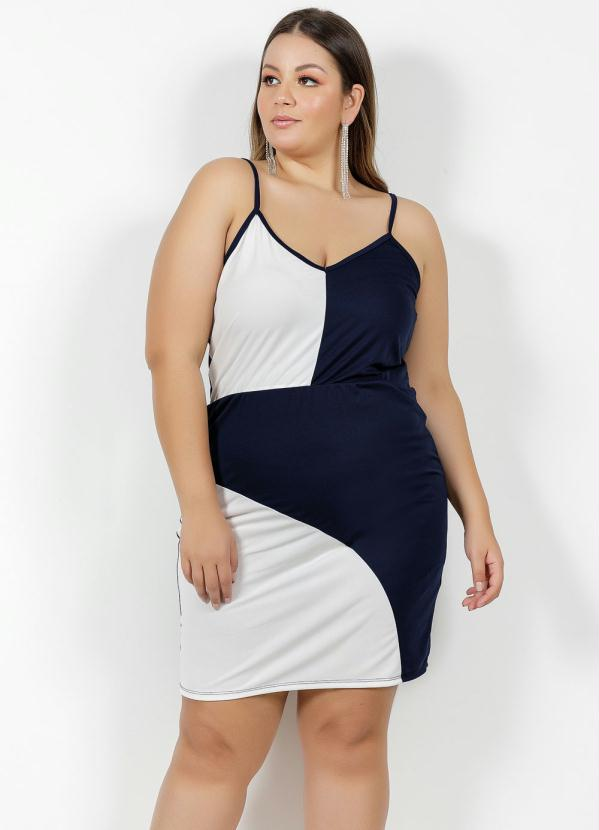 Vestido Curto Marinho e Off White Plus Size