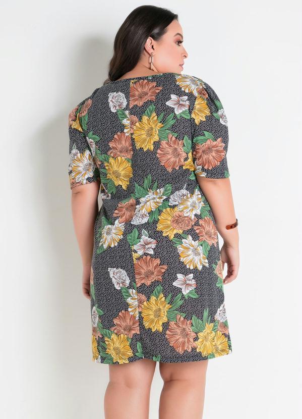Vestido Decote Vazado Floral Poá Plus Size