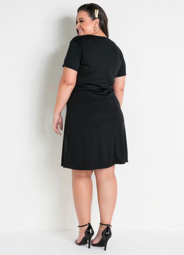 Vestido Decote Vazado Plus Size Preto