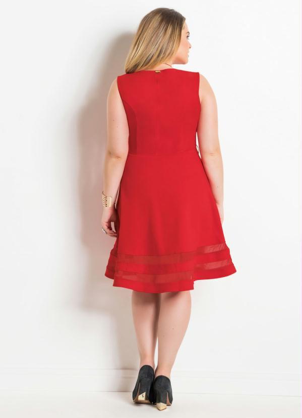 Vestido Evasê com Tule Regata Vermelho