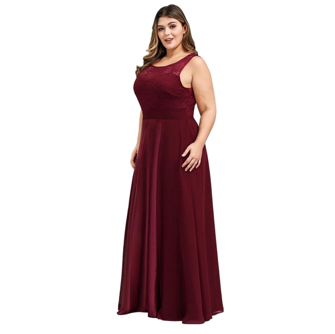 Vestido Festa Luxuoso Bordô Plus Size